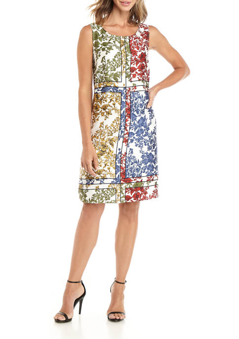 Womens Sleeveless Satin Twill Floral Color Block Dress