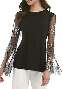 MSK Long Embroidered Mesh Sleeve Top