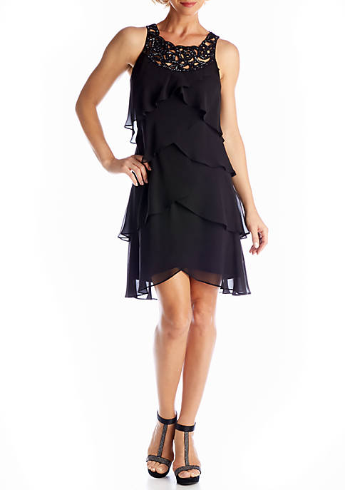 Sleeveless Tiered A-line Dress with Beads