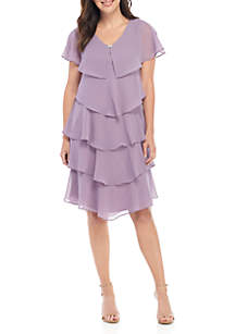 bf247886fa95b ... SLNY Rhinestone Embellished V Neck Tiered Dress