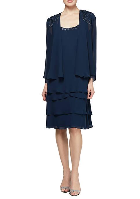 SLNY Bead Embellished Jacket Dress