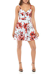 Speechless Sleeveless Twist Front Floral Dress