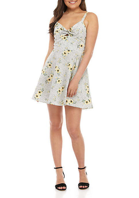 Sleeveless Twist Front Cotton Floral Dress