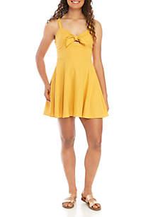 Speechless Sleeveless Twist Front Cotton Dress