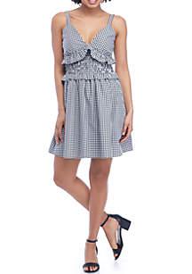 Smocked Waist Ruffle Gingham Dress