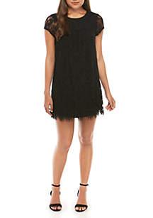 Speechless Short Sleeve Allover Lace Dress