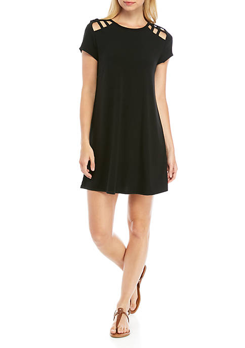 Short Sleeve Cutout Sleeve Swing Dress