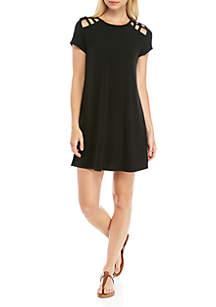 Speechless Short Sleeve Cutout Sleeve Swing Dress