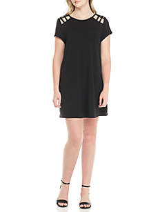 Short Sleeve Knit Dress With Cutouts