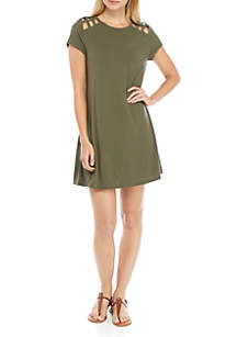 Speechless Short Sleeve Knit Dress With Cutouts