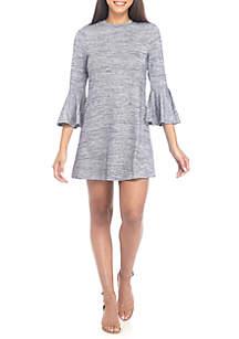 Bell Sleeve Stripe Hacci Dress