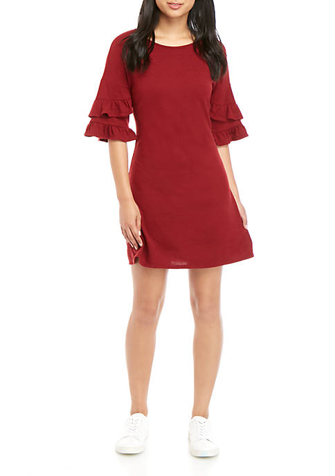 Speechless Ruffle Sleeve Hacci Dress