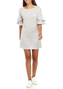 Ruffle Sleeve Hacci Dress