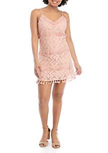 Speechless Spaghetti Strap Lace Mini Dress with Tassels