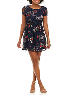 Floral Printed Lace Dress