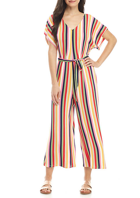 Short Sleeve Stripe Crop Tie Jumpsuit