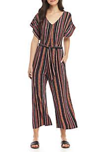 Short Sleeve Stripe Tie Crop Jumpsuit