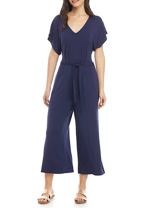 Knit Short Sleeve Tie Cropped Jumpsuit