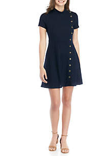 Speechless Rib Knit Mini Dress with Buttons