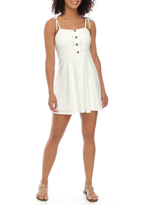 Speechless Juniors Spaghetti Tie Strap Knit Eyelet Dress
