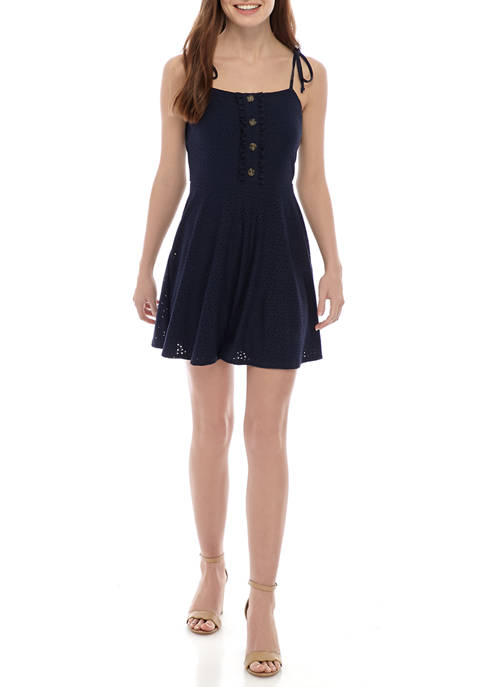 Juniors Spaghetti Tie Strap Knit Eyelet Dress