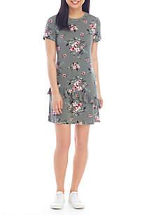 Speechless Short Sleeve Ruffle Hem Dress