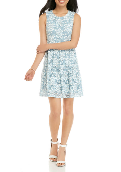 Juniors Tiered Floral Lace Tank Dress