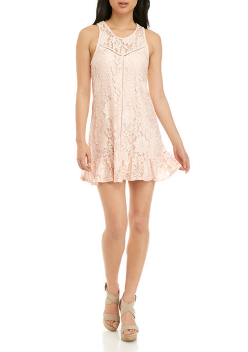 Speechless Juniors All Over Lace Drop Waist Dress