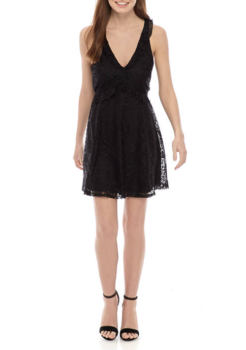 Juniors V Neck Fit and Flare Lace Dress