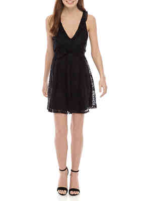 New womens ladies Grace BLACK Dual Print Lace /& Spotted Shift Dress size 10-18