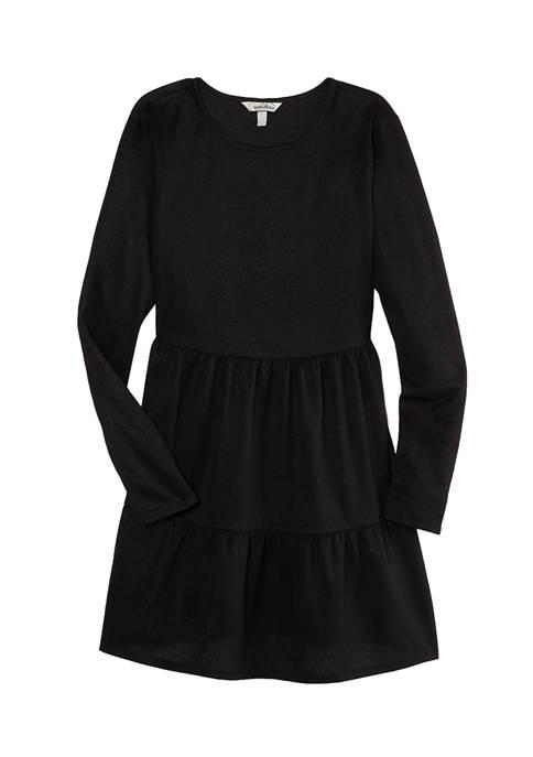 Juniors  Long Sleeve Hacci Knit Babydoll Dress