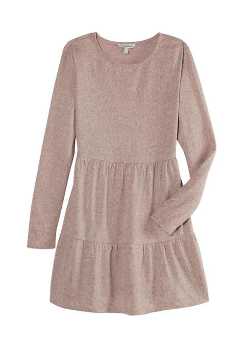 Speechless Long Sleeve Hacci Knit Babydoll Dress