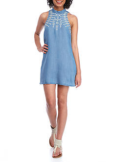 Speechless Chambray Embroidered Dress with keyhole button back closure