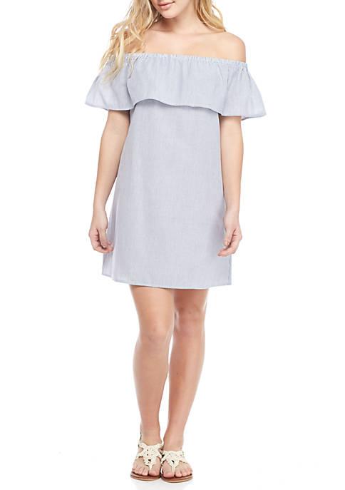 Seersucker Ruffle Off-The-Shoulder Dress