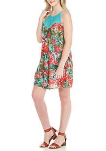 Crochet Yoke Tropical Floral Dress