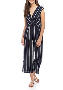 Speechless Sleeveless Knit Stripe Jumpsuit