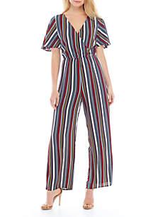 Speechless Short Sleeve Stripe Jumpsuit