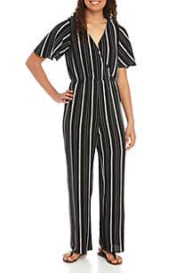 Speechless Short Sleeve Knit Stripe Jumpsuit