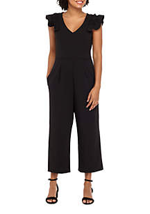 Ruffle Sleeve Full Length Jumpsuit