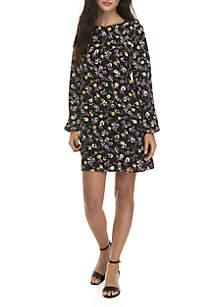 Pebble Textured Bubble Sleeve Dress