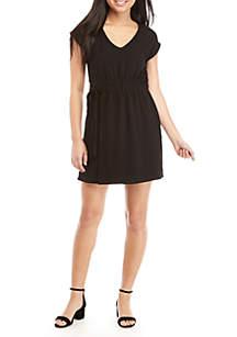 Cap Sleeve Paperbag Waist Tie Short Dress