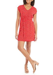 Speechless Polka Dot Cap Sleeve Dress