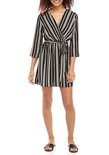 Long Sleeve Faux Wrap Stripe Dress