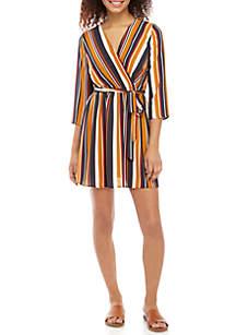 3/4 Sleeve Faux Wrap Stripe Dress