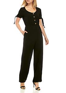 Speechless Short Sleeve Solid Button Jumpsuit
