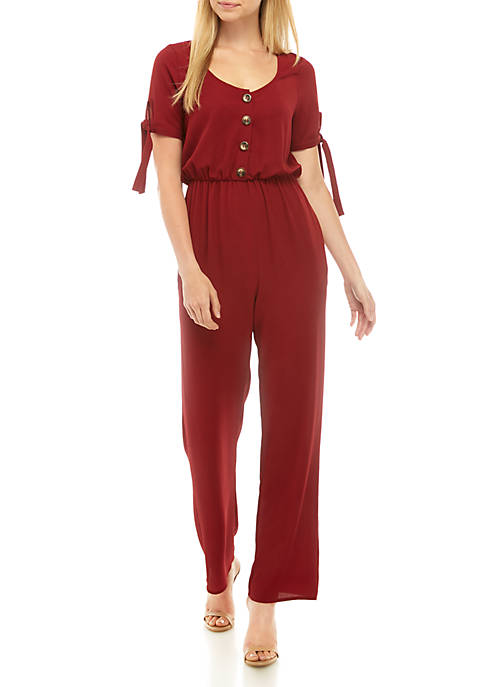 Short Sleeve Solid Button Jumpsuit