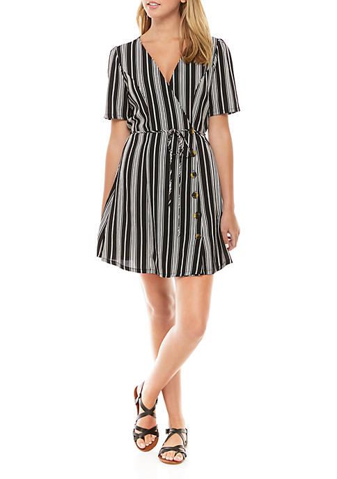 Short Sleeve Tie Front Stripe Dress