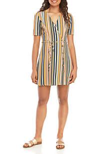 Speechless Short Sleeve Tie Front Stripe Dress