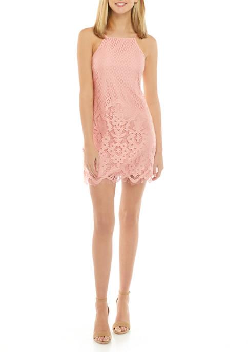 Juniors Spaghetti Strap High Neck Lace Dress
