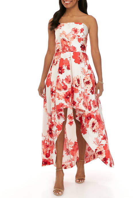 Womens Strapless High Low Printed Knit Dress